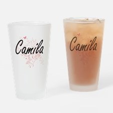 Camila Artistic Name Design with Bu Drinking Glass