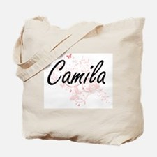Camila Artistic Name Design with Butterfl Tote Bag