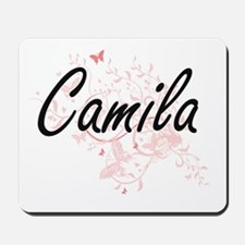 Camila Artistic Name Design with Butterf Mousepad
