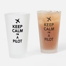 Keep calm I'm a Pilot Drinking Glass