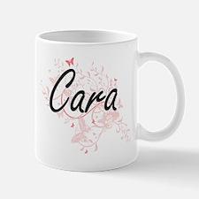 Cara Artistic Name Design with Butterflies Mugs