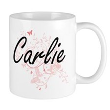 Carlie Artistic Name Design with Butterflies Mugs