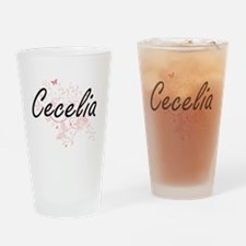 Cecelia Artistic Name Design with B Drinking Glass