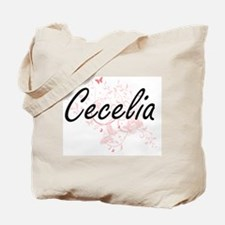 Cecelia Artistic Name Design with Butterf Tote Bag