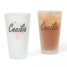 Cecilia Artistic Name Design with B Drinking Glass