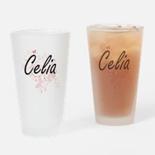 Celia Artistic Name Design with But Drinking Glass
