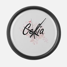Celia Artistic Name Design with B Large Wall Clock