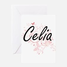 Celia Artistic Name Design with But Greeting Cards