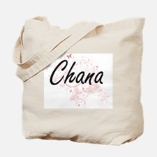 Chana Artistic Name Design with Butterfli Tote Bag