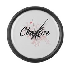 Charlize Artistic Name Design wit Large Wall Clock