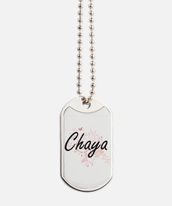 Chaya Artistic Name Design with Butterfli Dog Tags