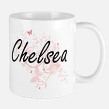 Chelsea Artistic Name Design with Butterflies Mugs