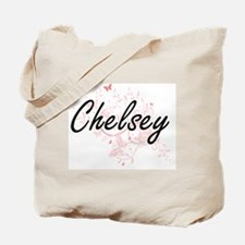Chelsey Artistic Name Design with Butterf Tote Bag