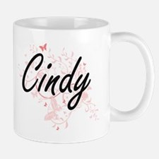 Cindy Artistic Name Design with Butterflies Mugs
