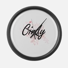 Cindy Artistic Name Design with B Large Wall Clock
