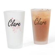 Clare Artistic Name Design with But Drinking Glass