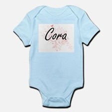 Cora Artistic Name Design with Butterfli Body Suit