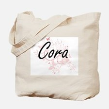 Cora Artistic Name Design with Butterflie Tote Bag
