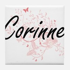 Corinne Artistic Name Design with But Tile Coaster