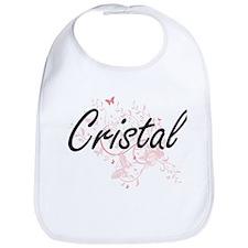 Cristal Artistic Name Design with Butterflies Bib