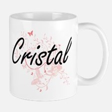 Cristal Artistic Name Design with Butterflies Mugs
