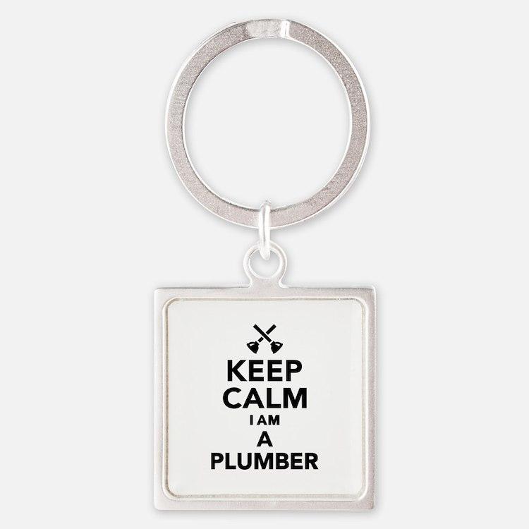 Keep calm I'm a Plumber Square Keychain