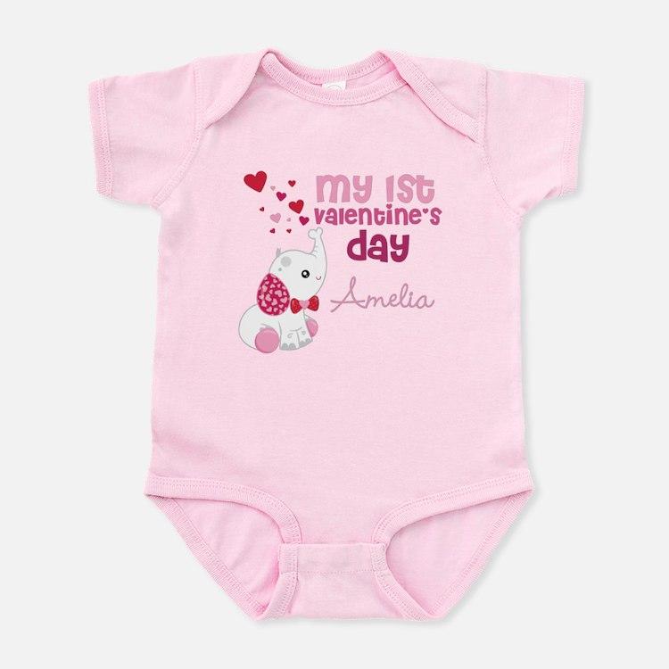 1st Valentine's Day Elephant Infant Bodysuit