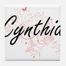 Cynthia Artistic Name Design with But Tile Coaster