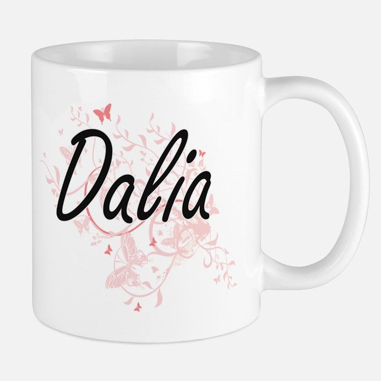 Dalia Artistic Name Design with Butterflies Mugs
