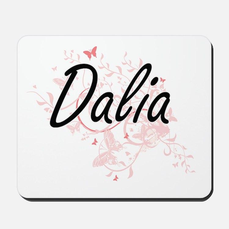 Dalia Artistic Name Design with Butterfl Mousepad