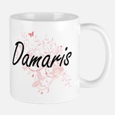 Damaris Artistic Name Design with Butterflies Mugs