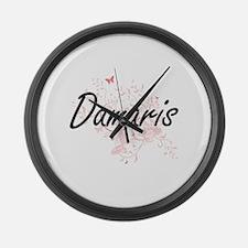 Damaris Artistic Name Design with Large Wall Clock