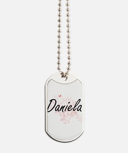 Daniela Artistic Name Design with Butterf Dog Tags