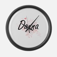 Danna Artistic Name Design with B Large Wall Clock
