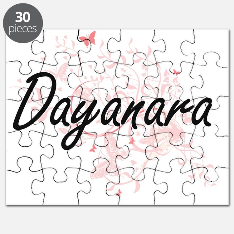 Dayanara Artistic Name Design with Butterfl Puzzle