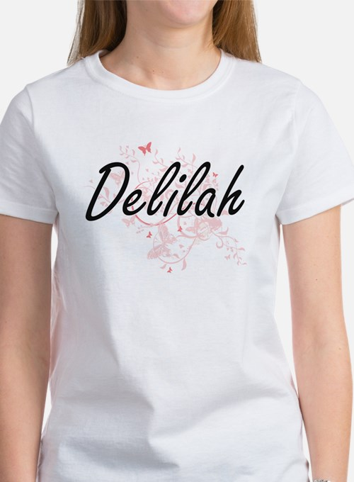 Delilah Artistic Name Design with Butterfl T-Shirt