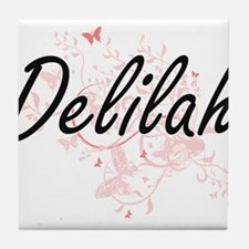 Delilah Artistic Name Design with But Tile Coaster