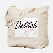 Delilah Artistic Name Design with Butterf Tote Bag