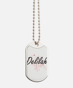 Delilah Artistic Name Design with Butterf Dog Tags