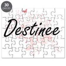 Destinee Artistic Name Design with Butterfl Puzzle