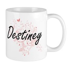 Destiney Artistic Name Design with Butterflie Mugs