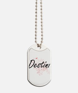 Destini Artistic Name Design with Butterf Dog Tags