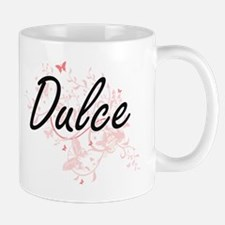 Dulce Artistic Name Design with Butterflies Mugs