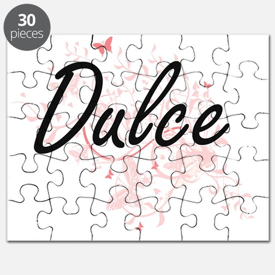 Dulce Artistic Name Design with Butterflies Puzzle