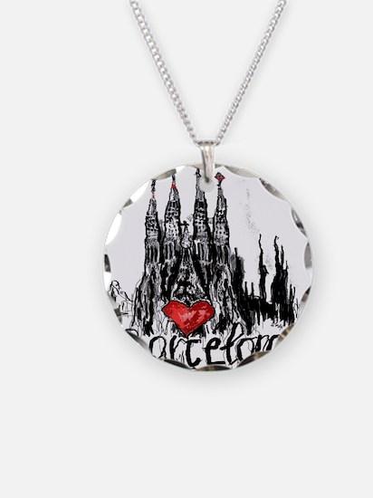 I love Barcelona Necklace Circle Charm
