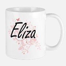 Eliza Artistic Name Design with Butterflies Mugs