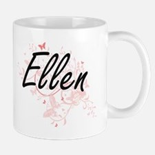 Ellen Artistic Name Design with Butterflies Mugs