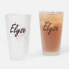 Elyse Artistic Name Design with But Drinking Glass