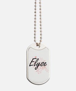 Elyse Artistic Name Design with Butterfli Dog Tags