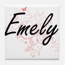 Emely Artistic Name Design with Butte Tile Coaster